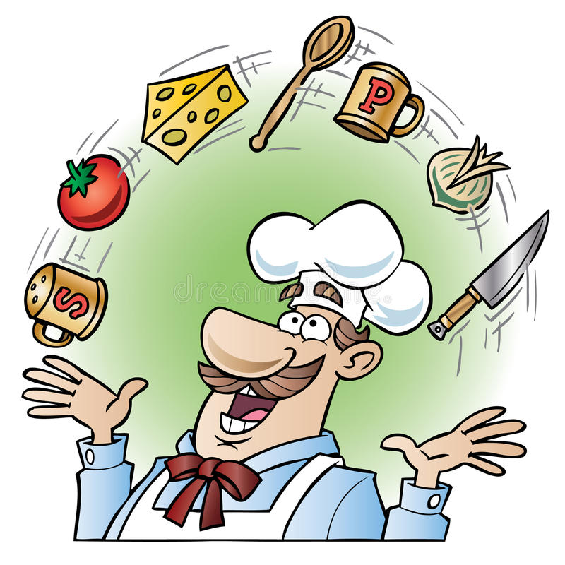 Chef juggling kitchen utensils and food items stock illustration