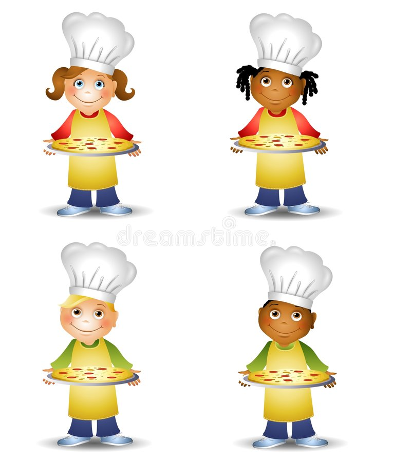 Chef Kids Holding Pizza. An illustration featuring your choice of cartoon kids holding pizza trays and wearing chef hats and aprons vector illustration