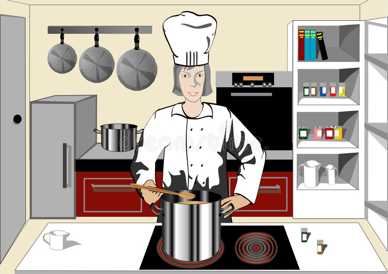 Chef in the kitchen. An illustration of a chef in the modern kitchen