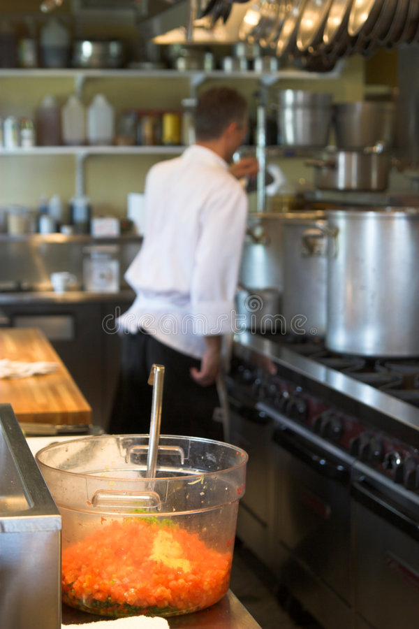 Chef and kitchen royalty free stock photos