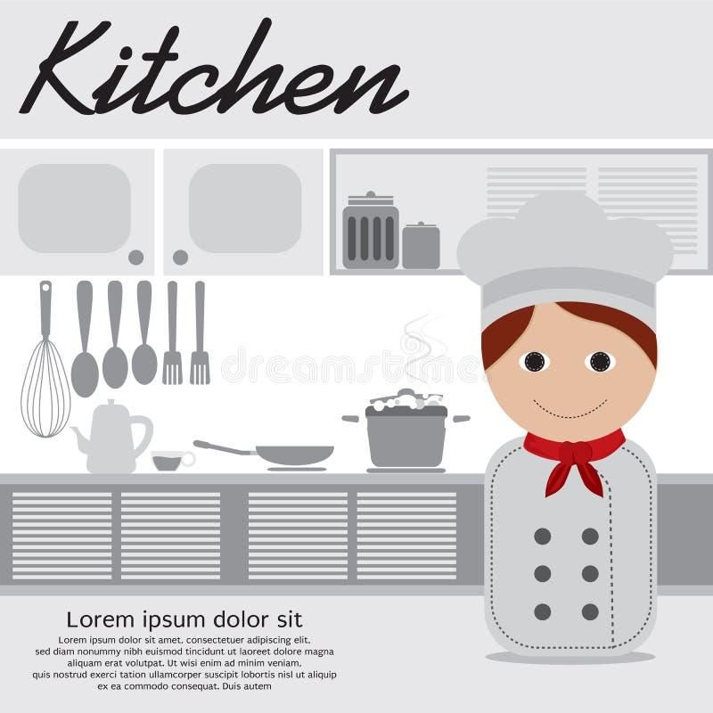 Chef In Kitchen stock abbildung