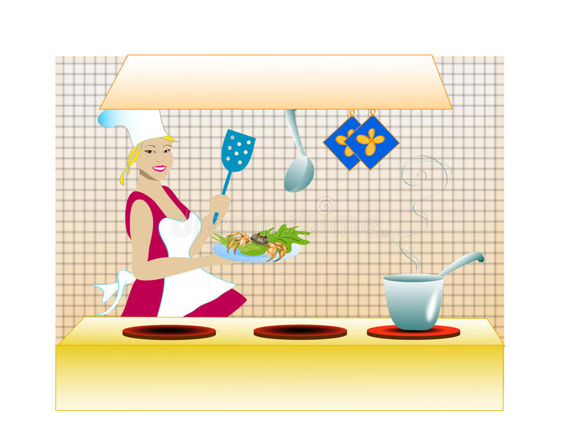 Chef in the kitchen. Attractive girl in her kitchen cooking crabs. Vector illustration