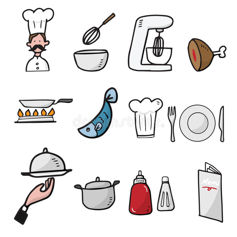 Chef And Kitchen Cartoon Drawing Icons Stock Vector