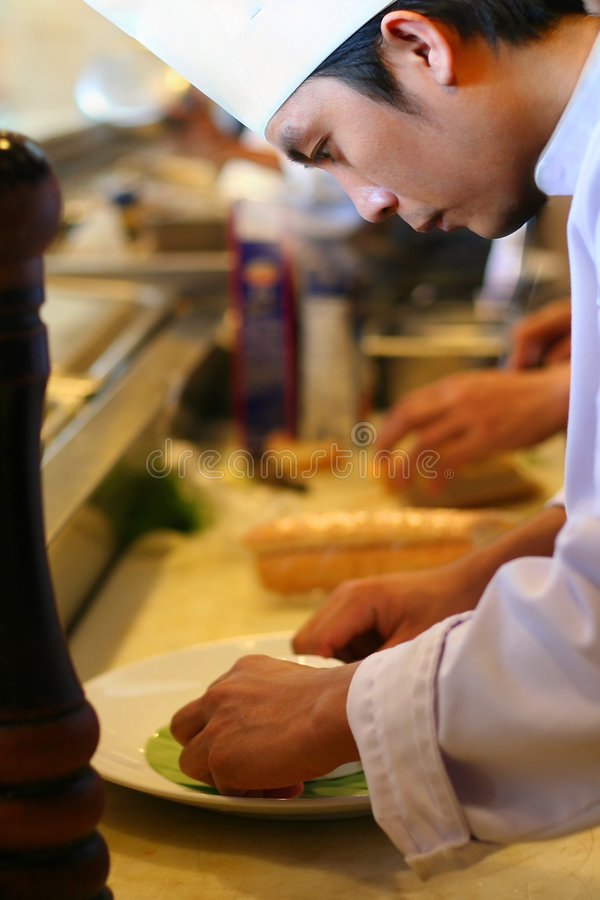 Download Chef at kitchen restaurant stock photo. Image of food - 4804302