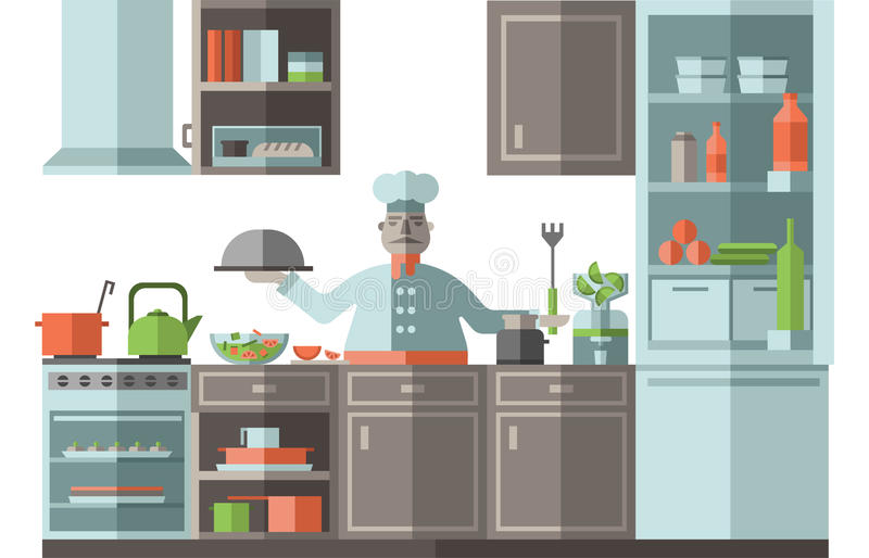 The chef is in the kitchen of the restaurant. A cook is standing by the stove and is preparing food. Vector illustration stock illustration