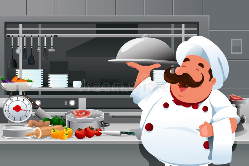 Chef in the kitchen vector illustration