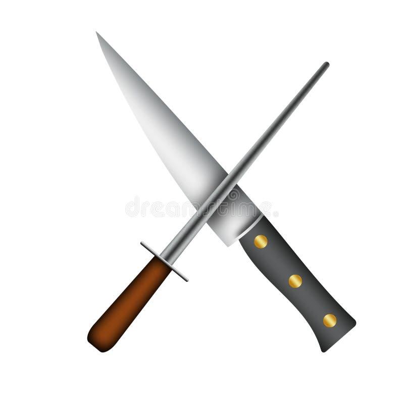 chef knife and sharpener illustration stock illustration image 55986456. Black Bedroom Furniture Sets. Home Design Ideas