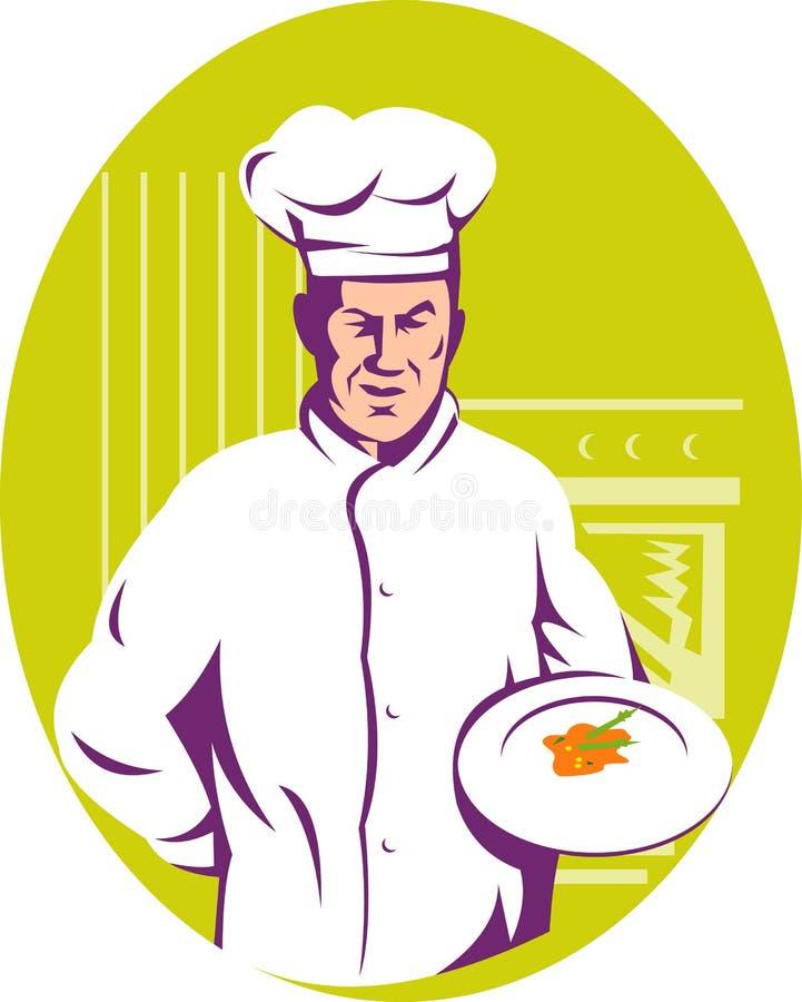 Chef-Koch, der eine Mahlzeit dient stock abbildung