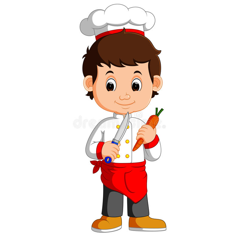 Chef-Koch Holding Cleaver Knife und Karotte Karikatur vektor abbildung
