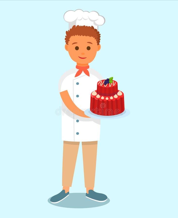Chef-Koch-Holding Tasty Cake-Zeichentrickfilm-Figur lizenzfreie abbildung