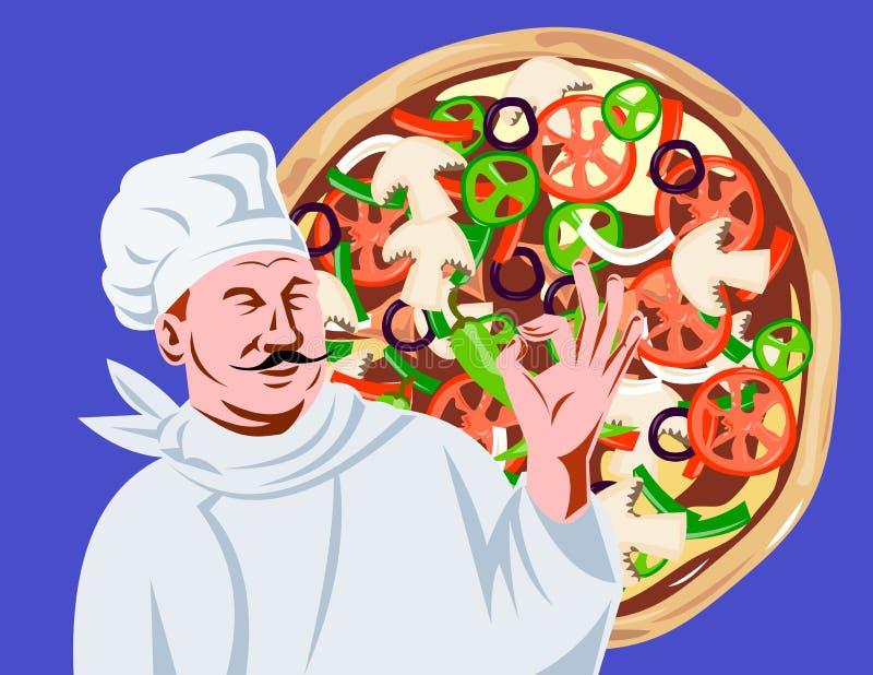 Chef-Koch-O.K.zeichen mit Pizza lizenzfreie abbildung