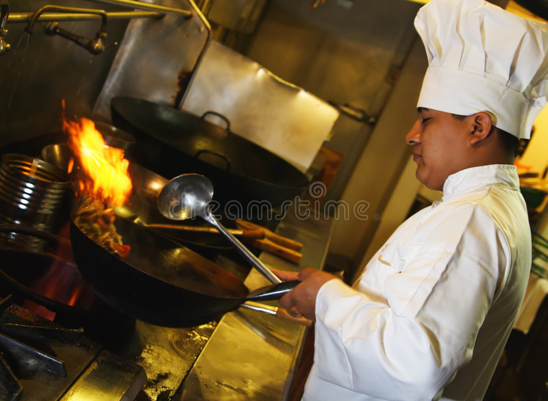 Chef-Kochen stockfotos
