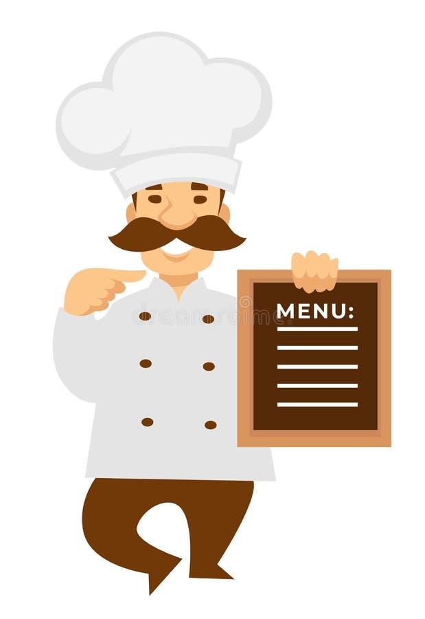 Chef-kok of bakker met restaurant of koffiemenukok in eenvormig royalty-vrije illustratie