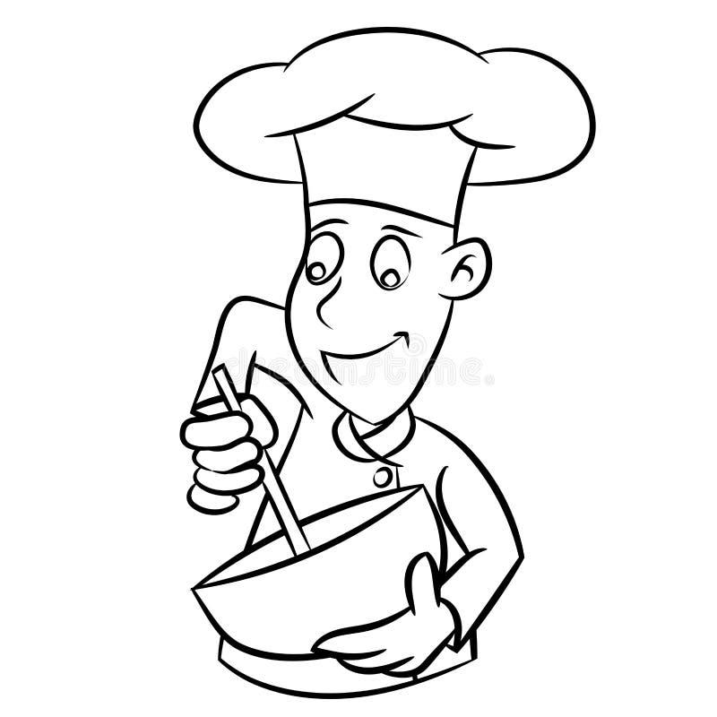 Chef-kok Cartoon - Lijn Getrokken Vector vector illustratie