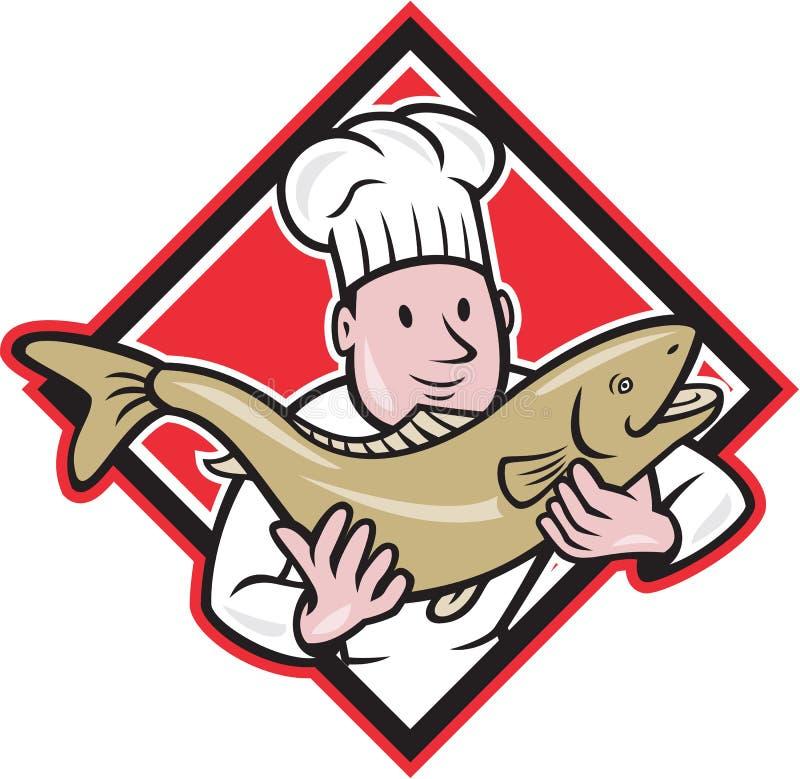 Chef-kok Cook Handling Salmon Trout Fish Cartoon stock illustratie