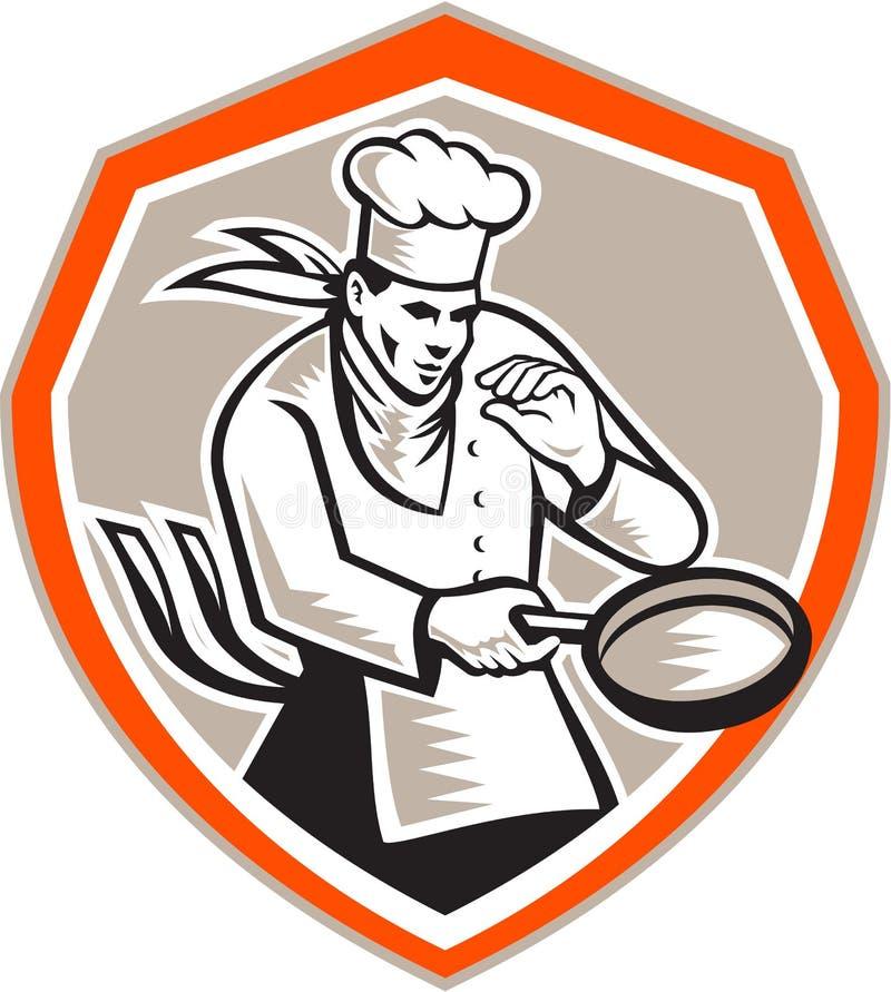 Chef-kok Cook Holding Frying Pan Retro royalty-vrije illustratie