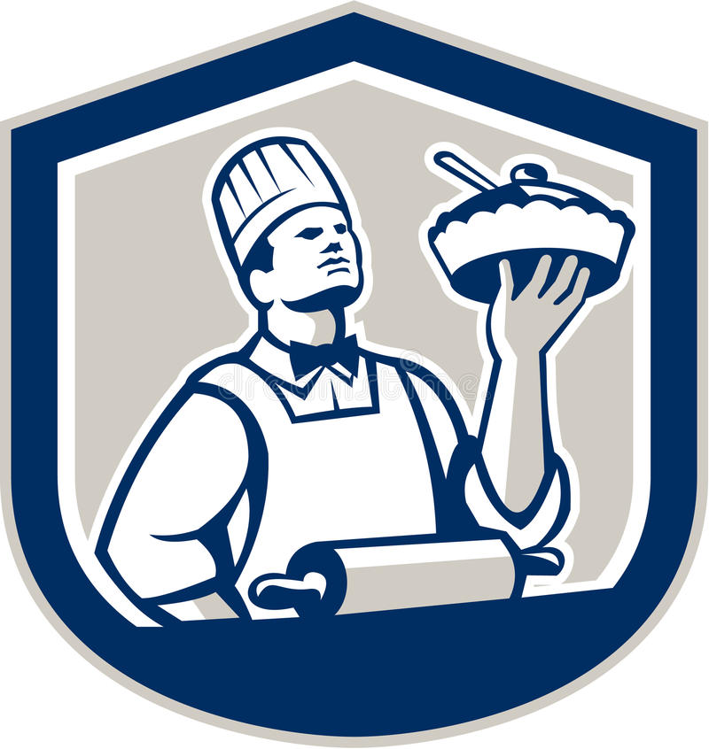 Chef-kok Cook Retro Holding Roller Plate stock illustratie