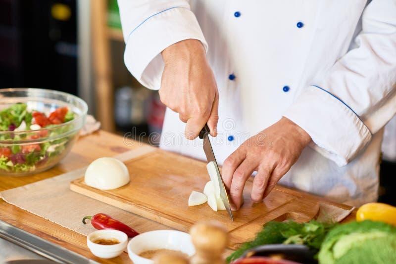 Chef-kok Cutting Onions voor Salade royalty-vrije stock afbeelding