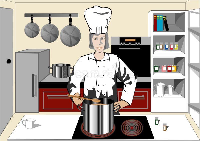 Chef-kok in de keuken vector illustratie