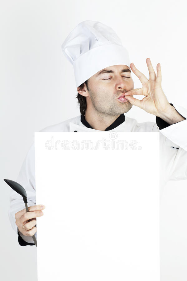 Chef-kok die het menu toont stock fotografie