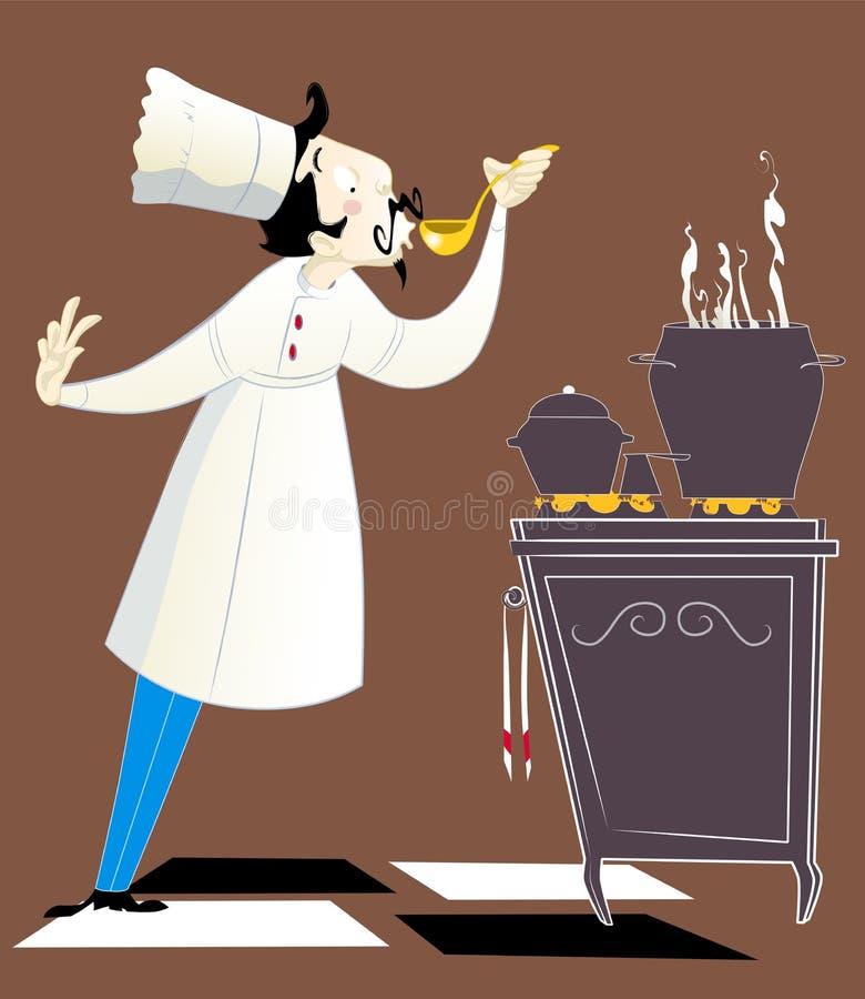 Chef-kok die het voedsel proeft stock afbeelding