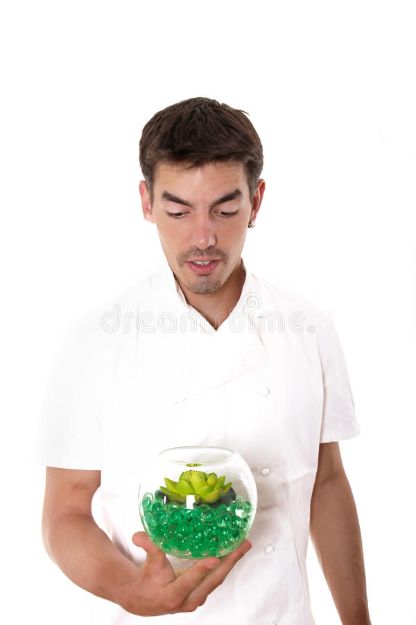 Chef-kok die merkwaardig de maaltijd bekijken stock foto's