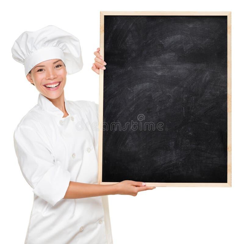 Chef-kok die teken toont stock fotografie
