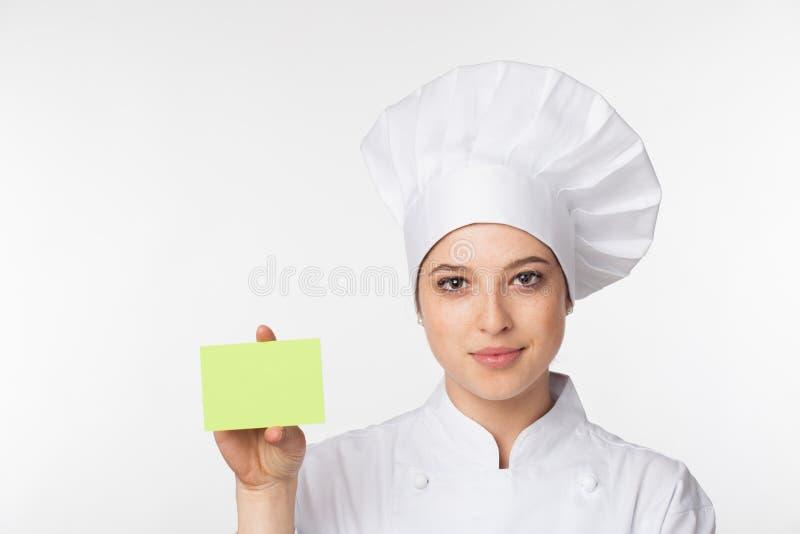 Chef-kok die tekenkaart toont royalty-vrije stock afbeelding