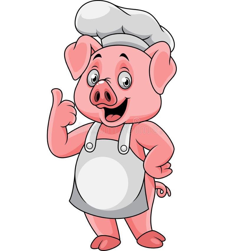Chef-kok die van het beeldverhaal de gelukkige varken een duim opgeven stock illustratie