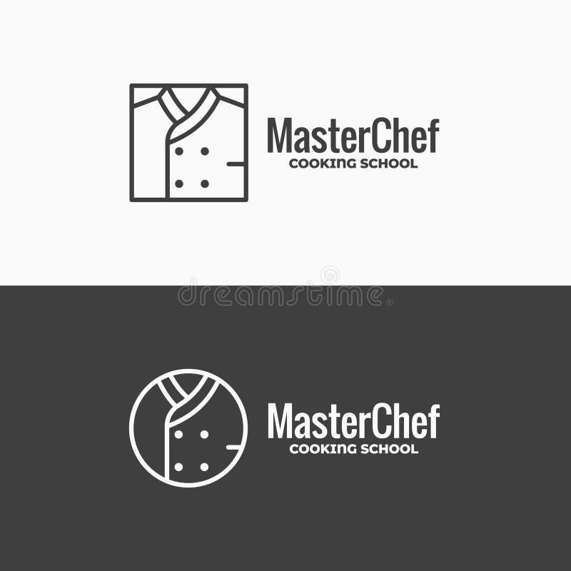 Chef-kok eenvormig pictogram Het lineaire embleem van het chef-koksjasje op zwart-witte achtergrond stock illustratie