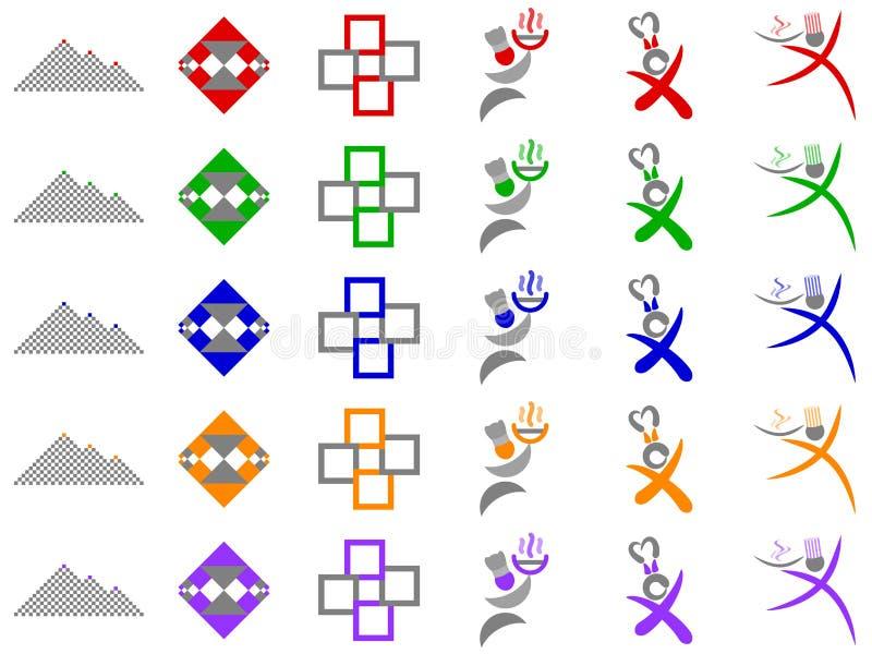 Chef-kok en de Abstracte Ontwerpen van het Embleem van Vierkanten Vector stock illustratie