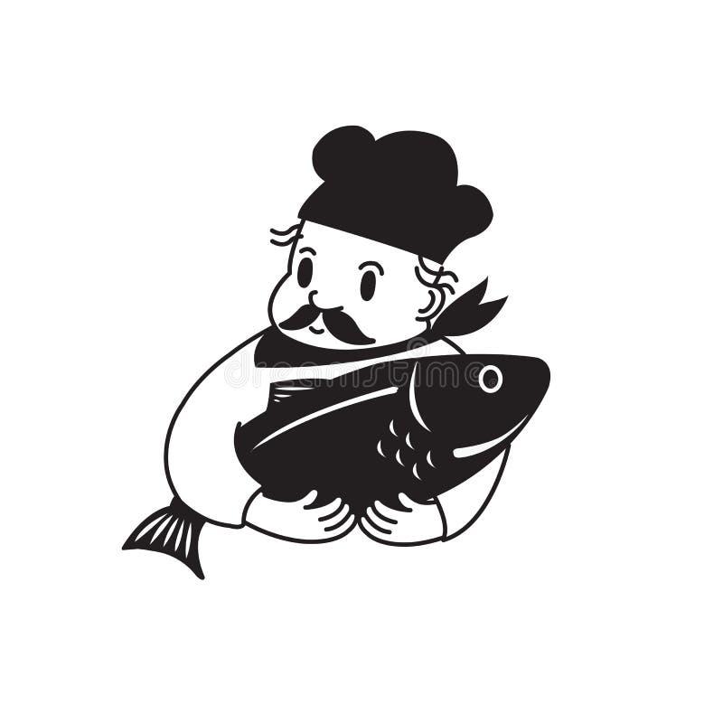 Chef-kok en Vissen stock foto