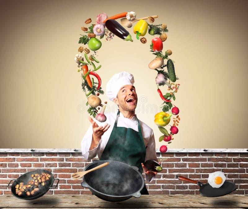 Chef-kok het jongleren met met groenten royalty-vrije stock afbeelding