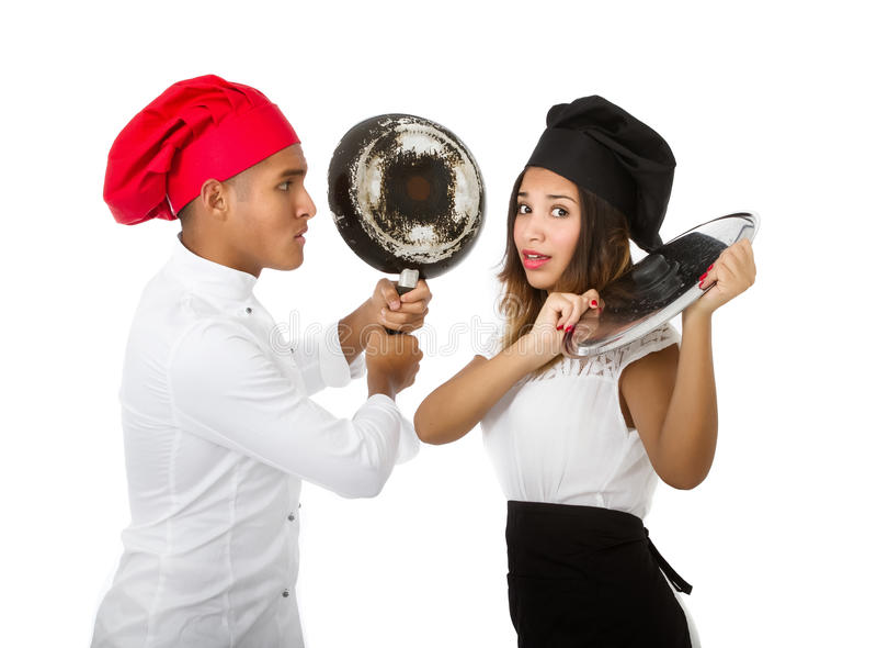 Chef-kok het vechten stock afbeeldingen