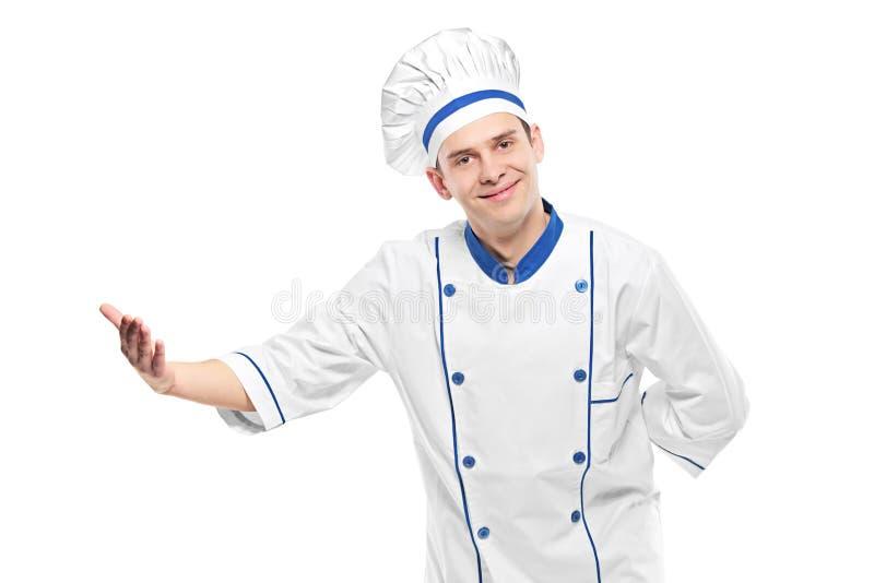 Chef-kok het welkom heten stock fotografie