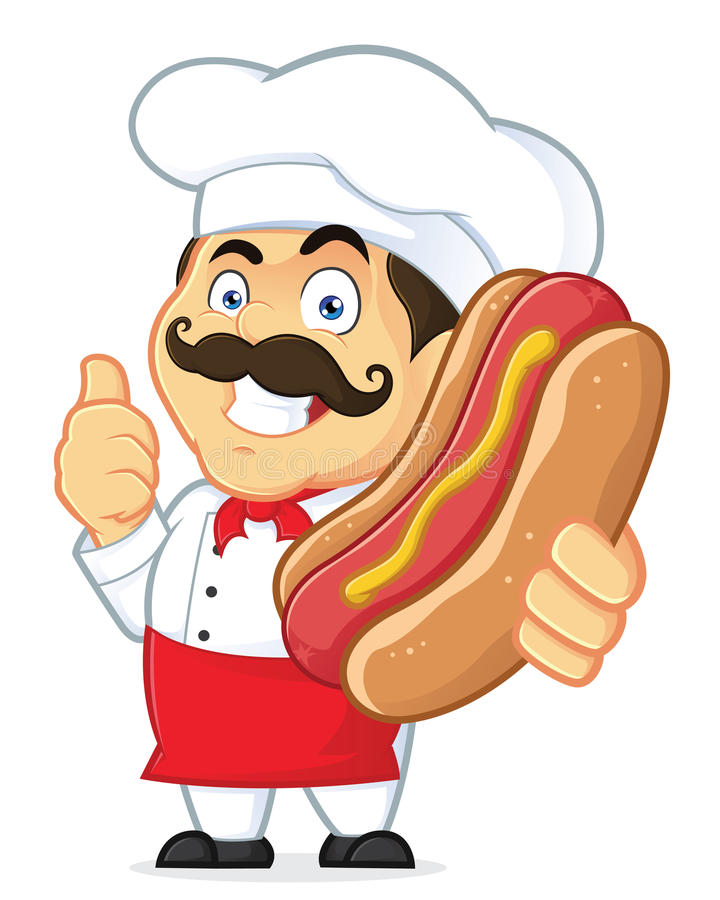 Chef-kok Holding Hot Dog stock illustratie