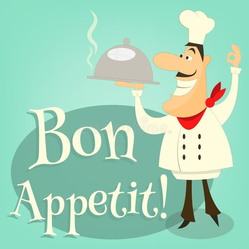 Chef-kok Holds Dish vector illustratie