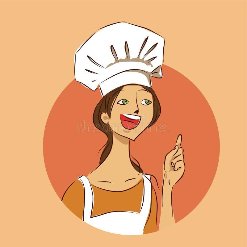 Chef-kok Krabbel van de de aanbevelings de vectorillustratie van het kokmeisje vector illustratie