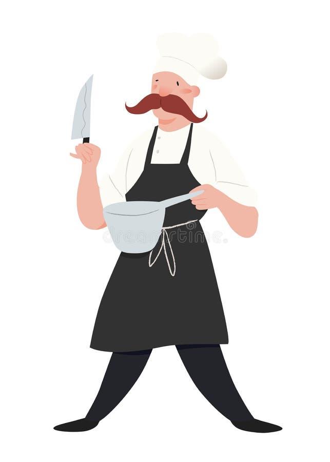 Chef-kok Mens in schort en de chef-kokshoed Werknemer van keuken met snorren, mes en pan Mensen vectorillustratie stock illustratie