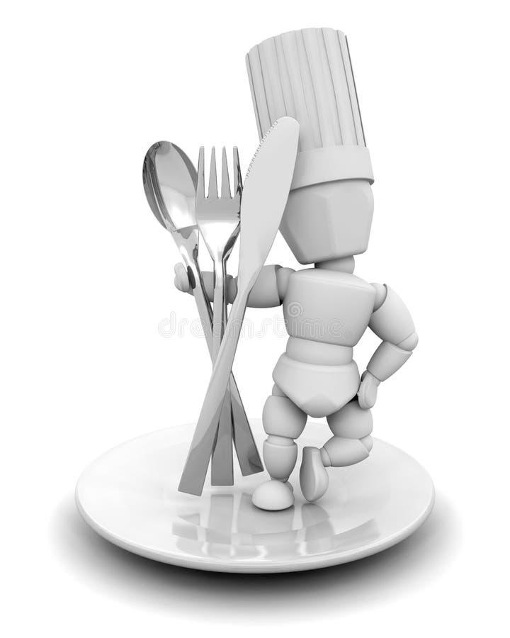 Chef-kok met bestek royalty-vrije illustratie