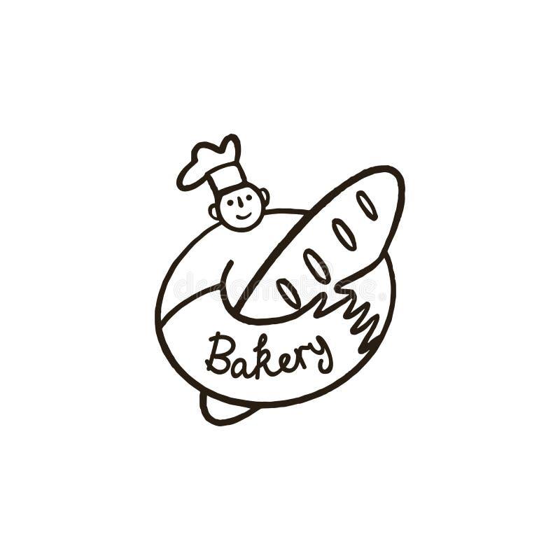 Chef-kok met broodembleem stock illustratie