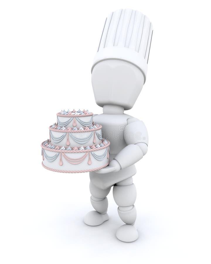 Chef-kok met cake stock illustratie