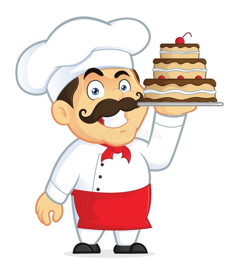 Chef-kok met Chocoladecake stock illustratie