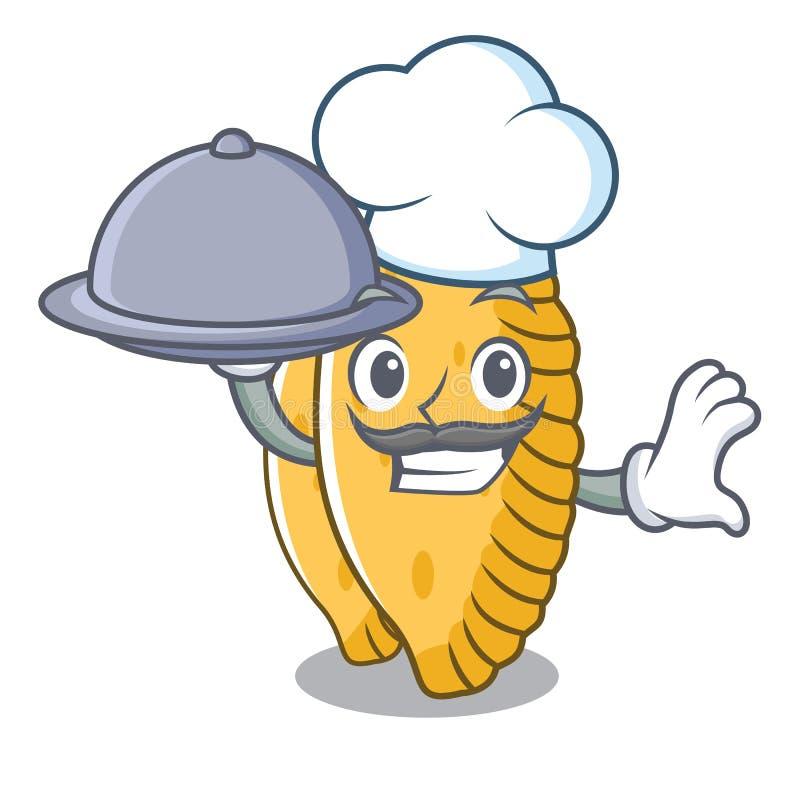 Chef-kok met de stijl van het de mascottebeeldverhaal van de voedselpastelkleur royalty-vrije illustratie