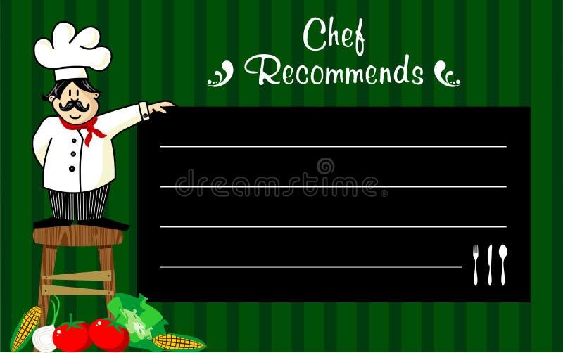 Chef-kok met een bord voor zijn aanbevelingen stock illustratie