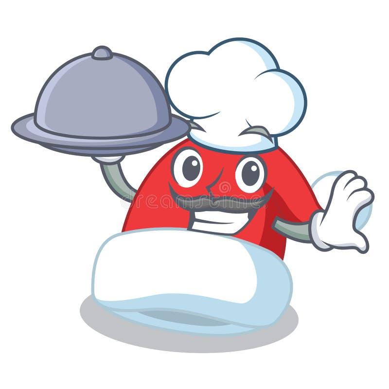 Chef-kok met het beeldverhaal van het de hoedenkarakter van voedselkerstmis royalty-vrije illustratie
