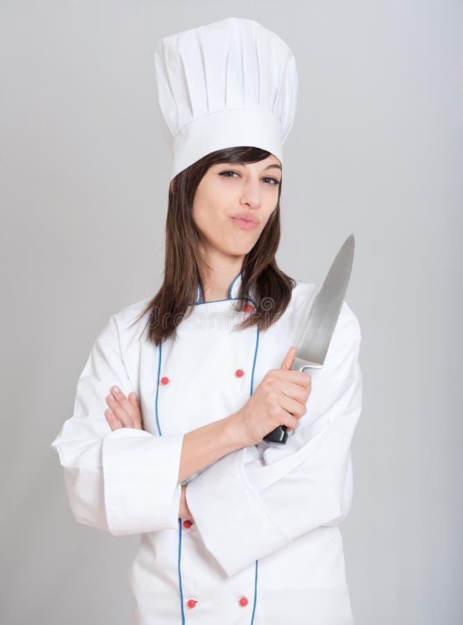 Chef-kok met mes royalty-vrije stock foto's