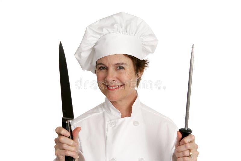Chef-kok met Mes stock fotografie