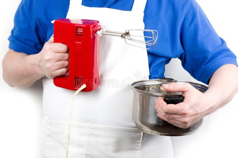 Chef-kok met mixer royalty-vrije stock foto's
