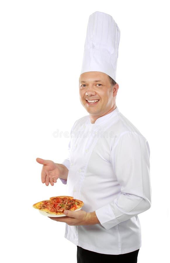 Chef-kok met pizza stock afbeelding